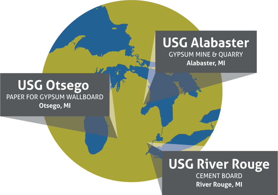 Map of USG Projects in Michigan
